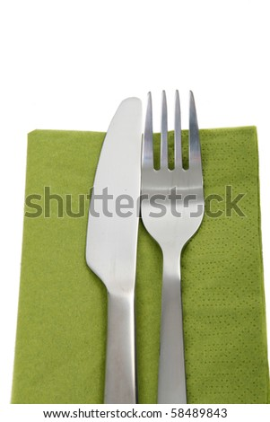 cutlery, fork and knife - stock photo