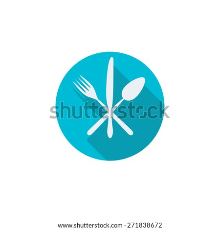 Cutlery icon: knife, fork, spoon. Restaurant design element on white background. - stock photo