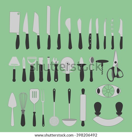 Cutlery Icons Set on the green background. Knife icon. illustration