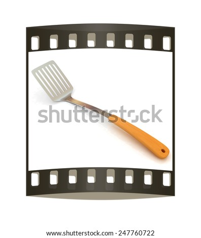 Cutlery on a white background. The film strip - stock photo