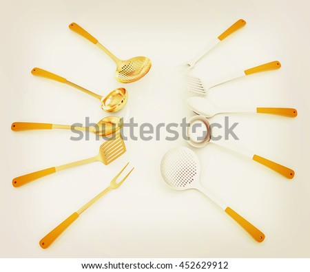 cutlery on white background . 3D illustration. Vintage style. - stock photo