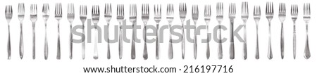 Cutlery panorama made from 25 individual fork - stock photo