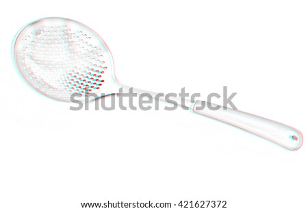 cutlery. Pencil drawing. 3D illustration. Anaglyph. View with red/cyan glasses to see in 3D. - stock photo