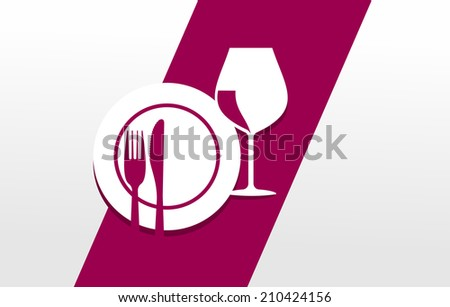 cutlery, plate and glass arranged to a symbol