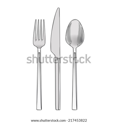 Cutlery set of fork, knife and spoon isolated on a white background. Hand drawn color line art. Cookware retro design. Raster copy - stock photo