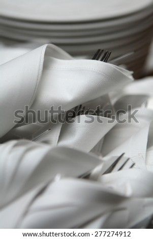 Cutlery set prepared for a banquet  - stock photo