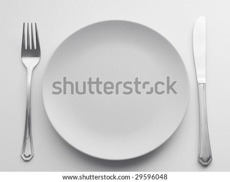 Cutlery Set with plate. - stock photo