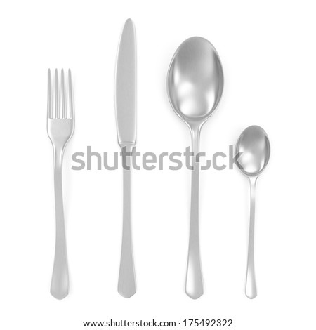 Cutlery set with Silver Fork, Knife and Spoon isolated on white background - stock photo