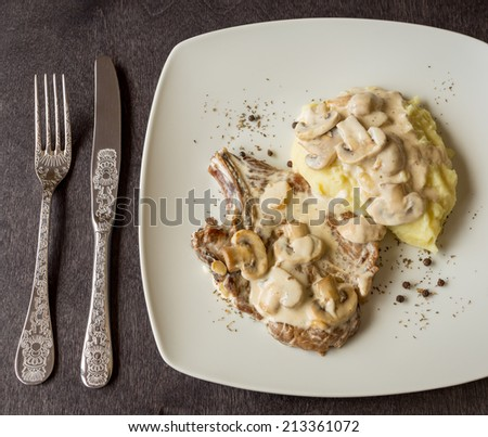 Cutlet with Mushrooms Cream and Mashed Potatoes - stock photo