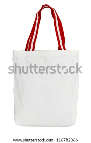 Cutout cotton bag on white isolated background work path included. - stock photo
