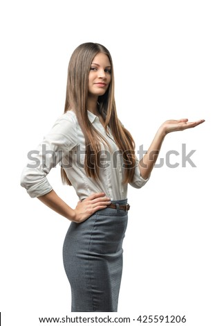 Cutout female model standing sideways raised her hand to present something. Presentation. Business staff. Affability. Invite and guide. Presentable appearance. Office clothes. Dress code. - stock photo