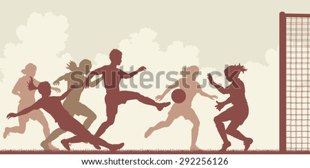 Cutout illustration of action in a ladies football match - stock photo