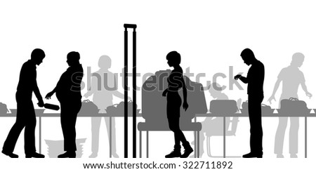 Cutout illustration of hand-luggage and passengers being checked at airport security - stock photo