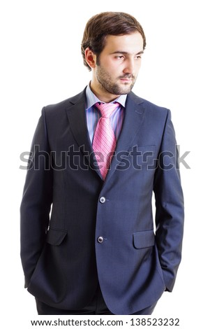 Cutout portrait of a businessman with hands in pockets isolated on white - stock photo