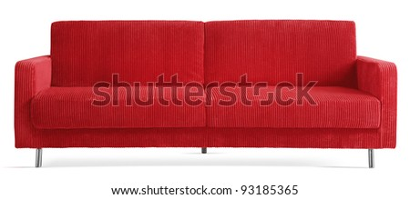 cutout red couch - stock photo