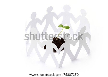 cutouts of paper people - stock photo