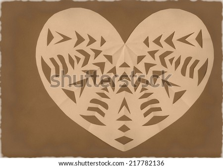 Cutted paper heart on grunge brown background - stock photo