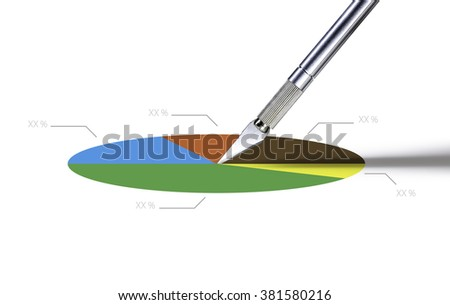 cutter the pie for businees model - stock photo