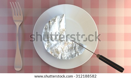 Cutting a portion of creamy cheese on a plate. Eat cheese moderately. - stock photo