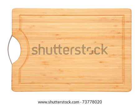 Cutting board isolated on white a white background - stock photo