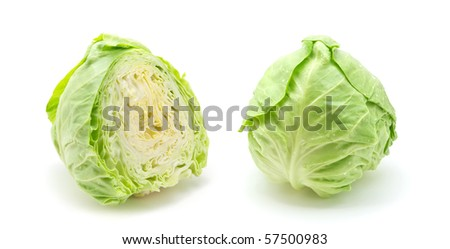 Cutting cabbage. Isolated object. Element of design. - stock photo