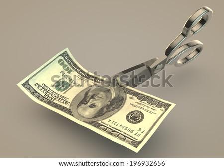 Cutting Dollar bill money in half - stock photo