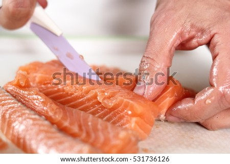 Cutting Salmon Fillet. Making Salmon in Puff Pastry Series.