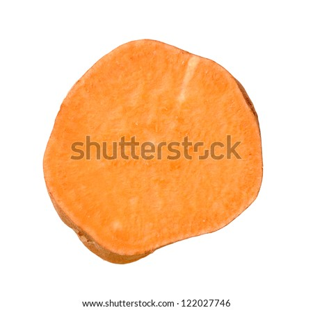 cutting surface of sweet potato isolated on white background - stock photo