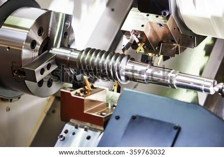 cutting tool at metal working - stock photo