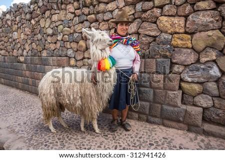 CUZCO, PERU - CIRCA 2015: A unidentified woman with a Suri Alpaca pose for the camera circa 2015 in Cuzco, Peru. - stock photo