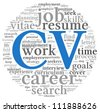 CV Curriculum vitae concept in word tag cloud on white background - stock
