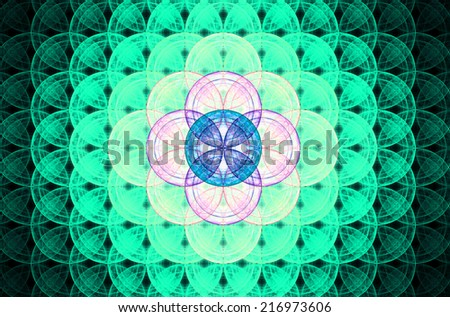 Cyan abstract fractal background with a detailed decorative flower of life pattern spreading from the center which is in bright pink and blue colors - stock photo