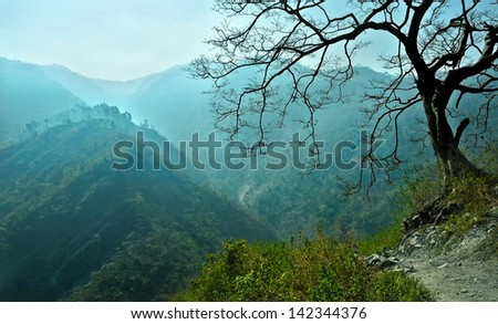 cyan blue mountain ranges in the haze and dark tree. Himalaya, Uttarakhand - stock photo