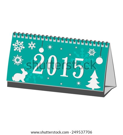 Cyan calendar 2015 isolated on white - stock photo