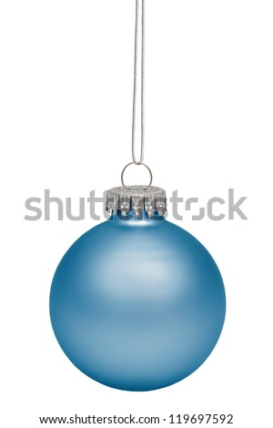 Cyan christmas bauble isolated on white background - stock photo