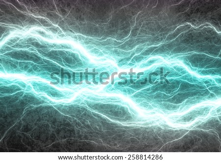 Cyan electric lighting, abstract electrical background - stock photo