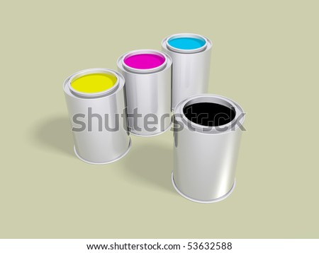 Cyan, magenta, yellow and black inks in cans over a soft background - stock photo