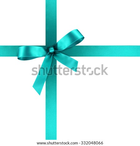 Cyan Satin Gift Ribbon with Decorative Bow - Ornate Textile Decor - Isolated on White Background - For Christmas and Easter Season - Valentine and Mothers Day - stock photo