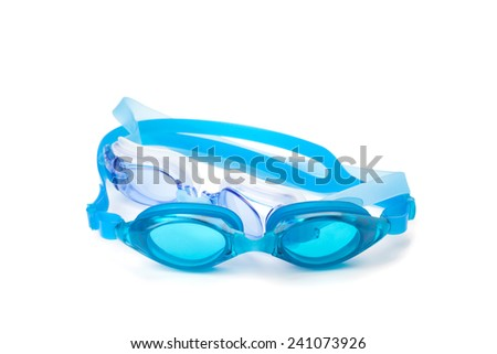 cyan swimming goggles isolated on the white background