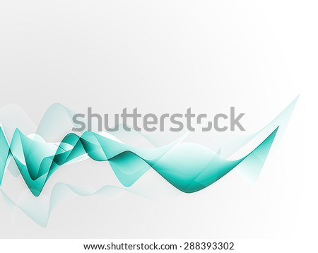 Cyan waves on gradient background. Raster version  - stock photo