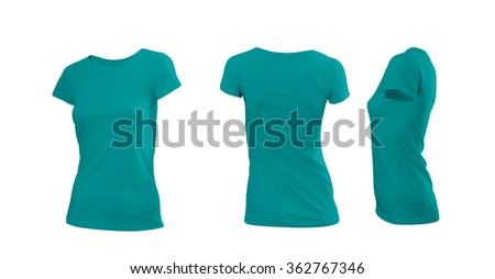 Cyan woman's T-shirt with short sleeves with rear and side view on a white background