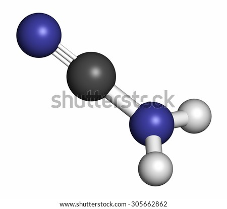 Cyanamide molecule. Used in agriculture and chemical synthesis. Atoms are represented as spheres with conventional color coding: hydrogen (white), carbon (grey), nitrogen (blue).