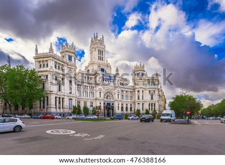 Cybele's Square (Plaza de la Cibeles) and Central Post Office (Palacio de Comunicaciones) in Madrid, Spain