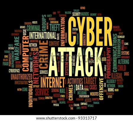 Cyber attack concept in word tag cloud isolated on black background - stock photo