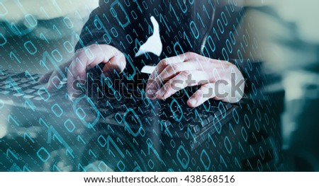 Cyber attack in cyberspace - stock photo
