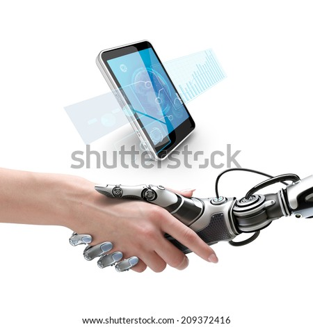 Cyber communication design concept. Female robot and human holding hands with handshake. Smartphone with virtual interface - stock photo