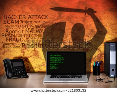 cyber crime concept of computer hacker that hacking antivirus software and stealing password  - stock photo