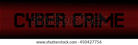 Cyber Crime text on red laptops background illustration - stock photo