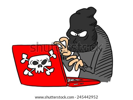 Cyber Criminal on computer - stock photo