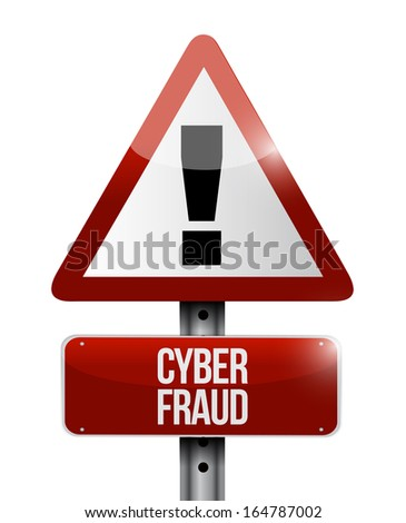 cyber fraud warning illustration design over a white background - stock photo